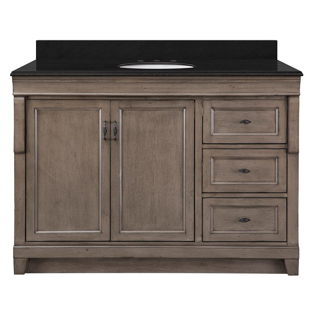 Home decorators collection naples 49 in w x 22 in d bath - Black distressed bathroom vanity ...