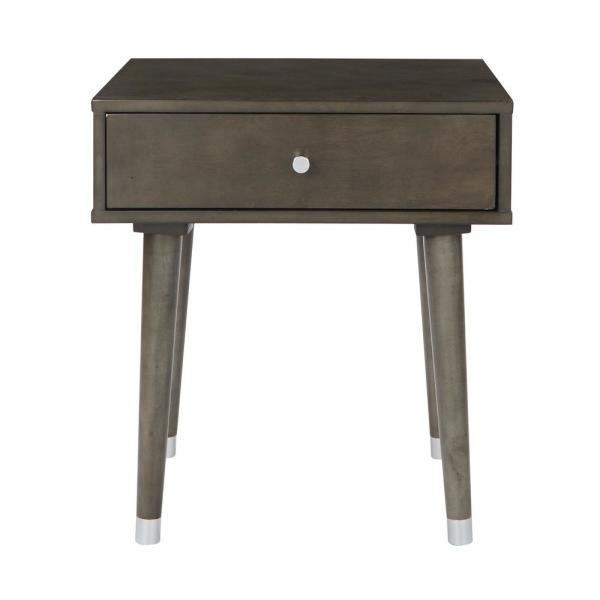OSP Home Furnishings Cupertino Grey Side Table with Drawer CUP08-GRY