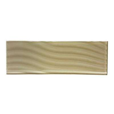 Pacific Rye Tan 4 in. x 11-3/4 in. Glass Wall Tile (3-Pack)