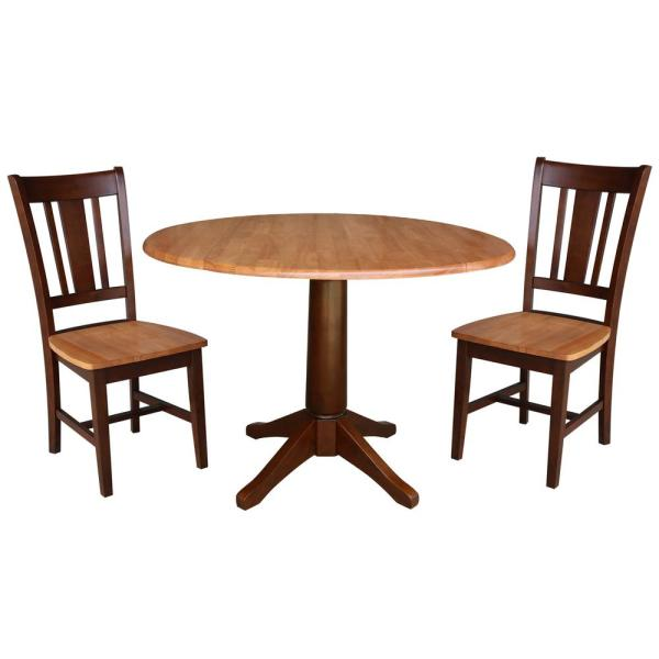International Concepts Olivia 3 Piece Cinnamon And Espresso 42 In Dropleaf Table And San Remo Side Chair Dining Set K58 42dpt 27b C10 2 The Home Depot