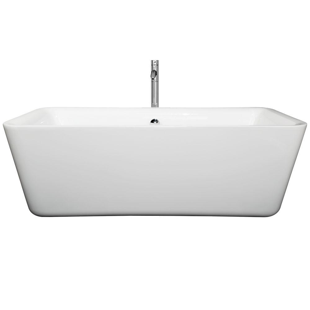 Emily 68.88 in. Acrylic Flatbottom Center Drain Soaking Tub in White