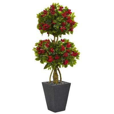 5 ft. High Indoor Double Bougainvillea Topiary Artificial Tree in Slate Planter