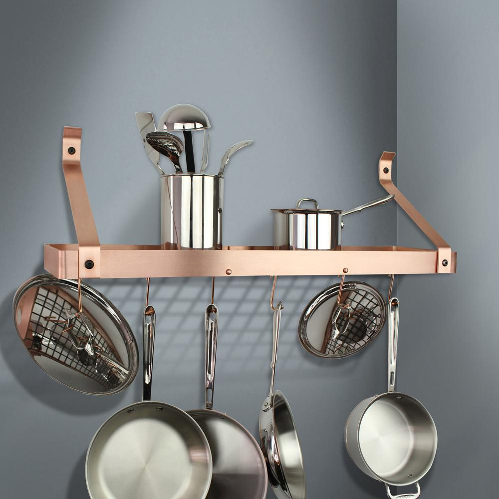 Handcrafted 36 in. Brushed Copper Gourmet Bookshelf Wall Rack with Straight
