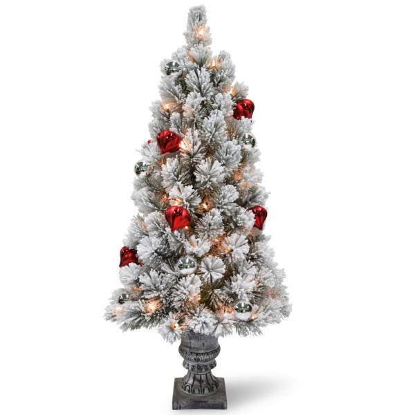 4 ft. Snowy Bristle Pine Entrance Tree with Clear Lights
