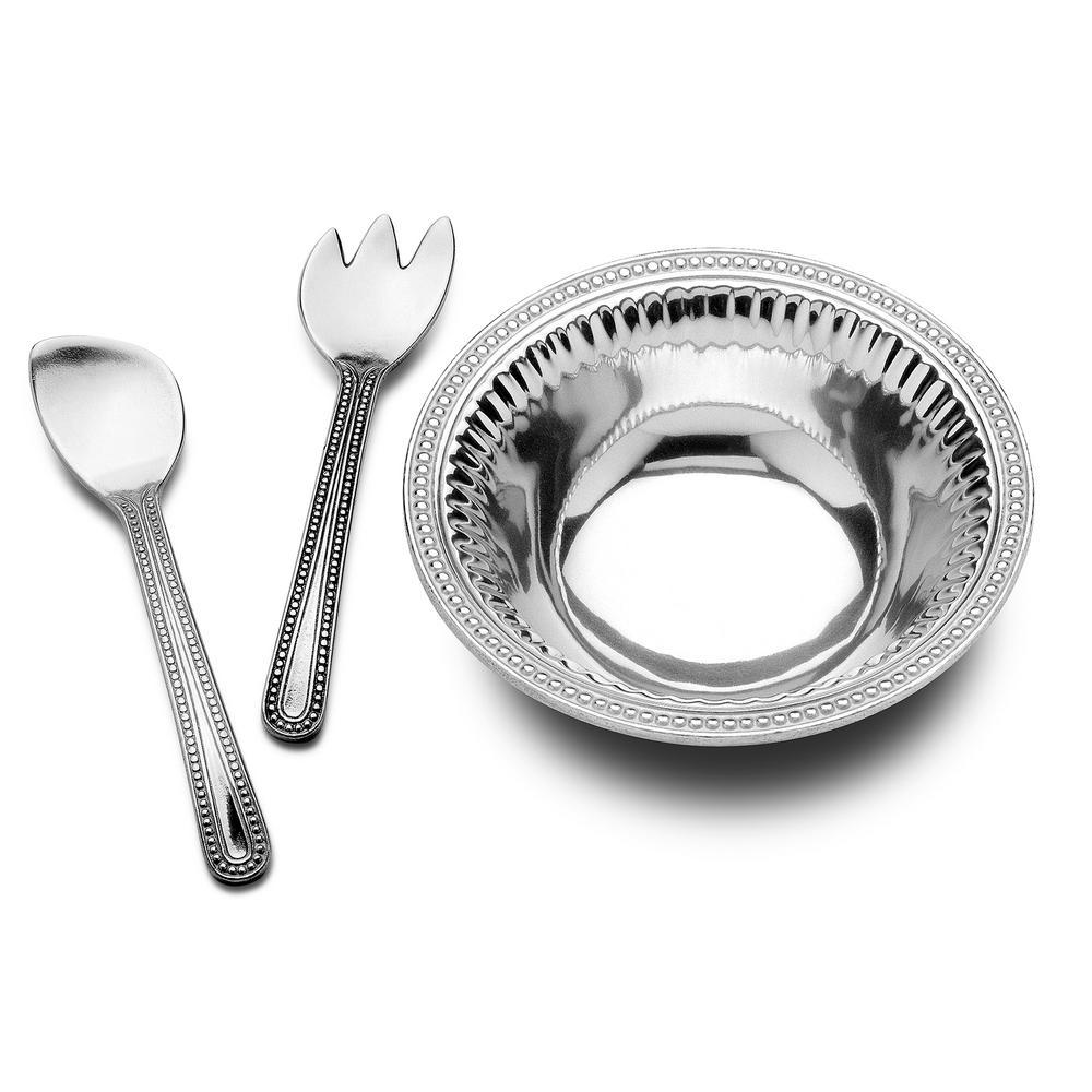 Flutes and Pearls Medium 3-Piece Salad Serving Set