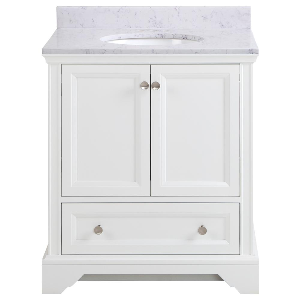 Home Decorators Collection Stratfield 31 in. W x 22 in. D Bathroom Vanity in White with Stone Effect Vanity Top in Pulsar with White Sink