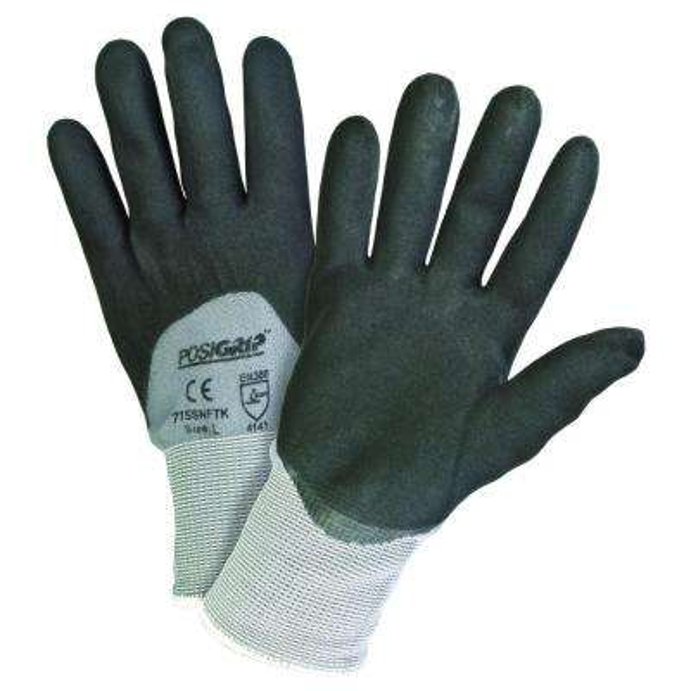 Black Foam Nitrile 3/4 Gray Dip Nylon Shell Gloves - Dozen Pair-Extra Large