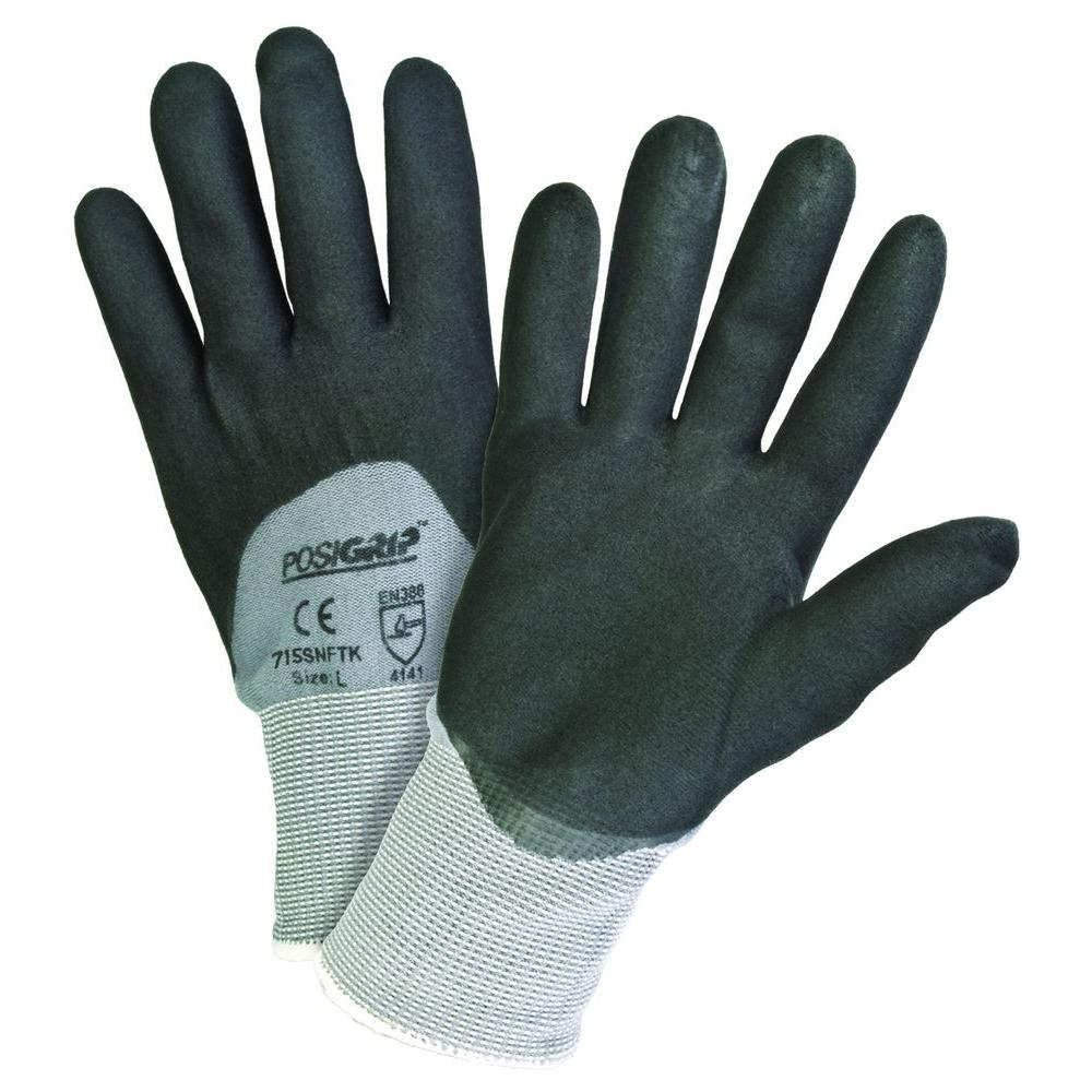 Black Foam Nitrile 3/4 Gray Dip Nylon Shell Gloves - Dozen