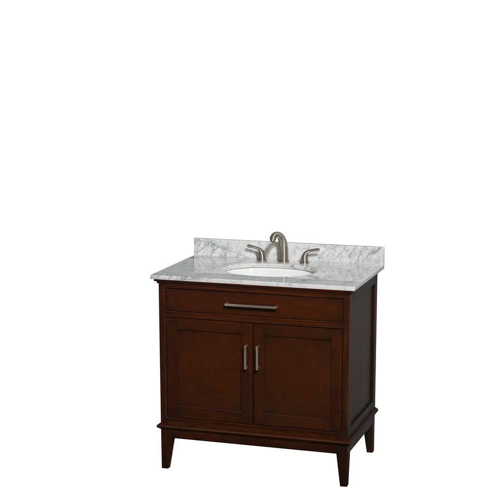 Wyndham Collection Hatton 36 in. Vanity in Dark Chestnut with Marble Vanity Top in Carrara White and Oval Sink