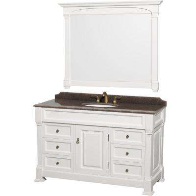 Andover 55 in. W x 23 in. D Vanity in White with Granite Vanity Top in Imperial Brown with White Basin and 50 in. Mirror