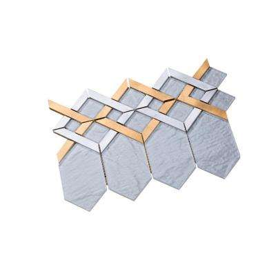 Hexa/01 Super White Glass Coupled with Silver and Gold Aluminum 12.72 in. x 10.24in. Wall Tile (11 sq. ft. per Box)