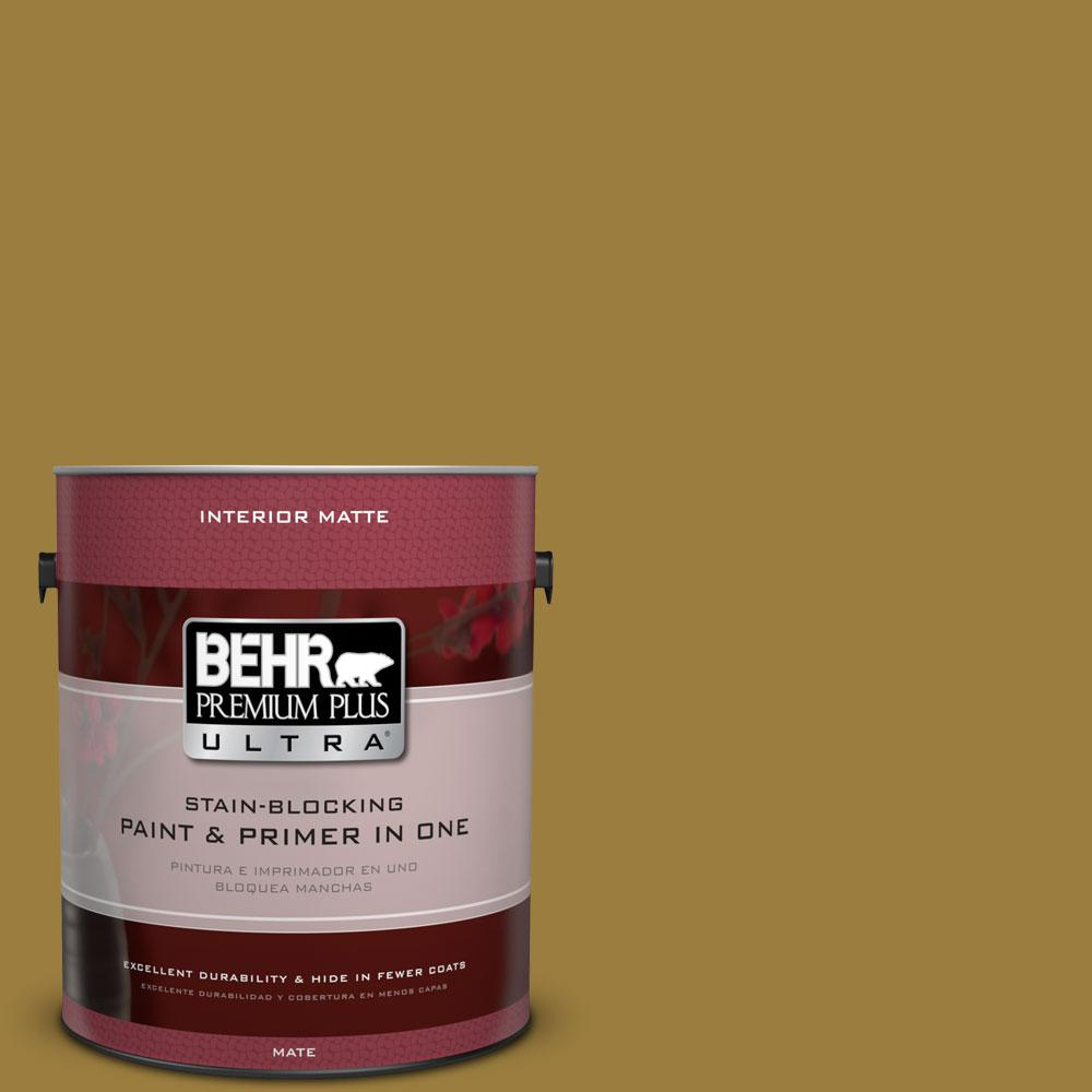 BEHR Premium Plus Ultra 1 gal. #S-H-380 Burnished Bronze Flat/Matte Interior Paint