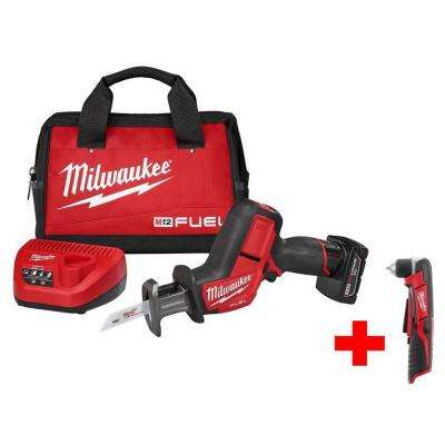 M12 FUEL 12-Volt Lithium-Ion Brushless Cordless HACKZALL Reciprocating Saw Kit with Free M12 Right Angle Drill