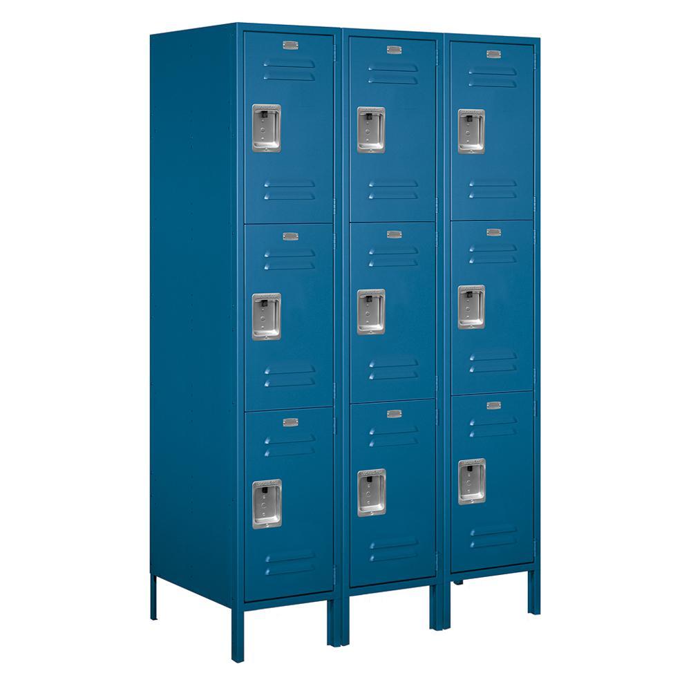 18-53000 Series 9 Compartments Triple Tier 54 In. W x 78 In. H x 21 In. D Metal Locker Assembled in Blue