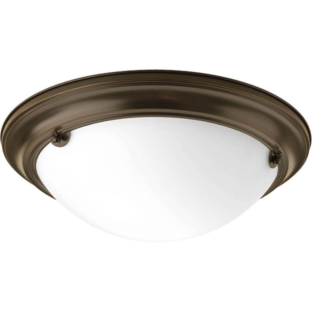 Progress Lighting Eclipse 2-Light Antique Bronze Flush Mount with Satin White Glass
