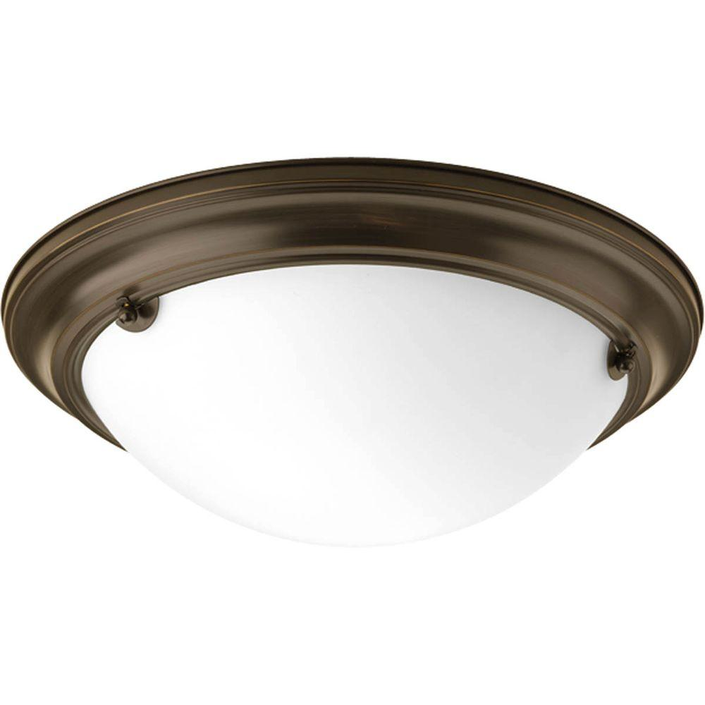 Eclipse Collection 2-Light Antique Bronze Flushmount with Satin White Glass