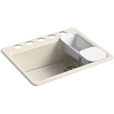 Riverby Undermount Cast Iron 27 in. 5-Hole Single Bowl Kitchen Sink Kit in Almond
