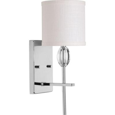 Status Collection 1-Light Polished Chrome Bath Sconce with White Linen Shade
