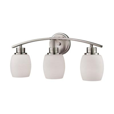 Casual Mission 3-Light Brushed Nickel with White Lined Glass Bath Light