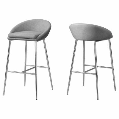 Grey with Chrome Base Bar Stool (2-Piece)