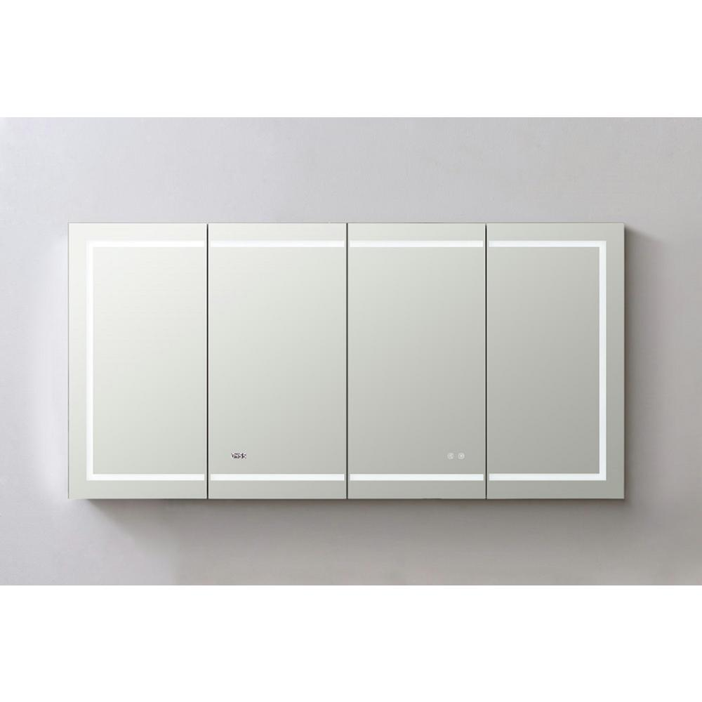 Aquadom Signature Royale 72 in W x 36 in. H Recessed or Surface Mount Medicine Cabinet with Single Door,LED Lighting