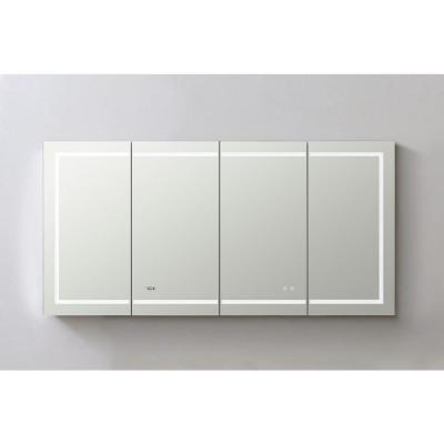 Signature Royale 72 in W x 36 in. H Recessed or Surface Mount Medicine Cabinet with Single Door,LED Lighting