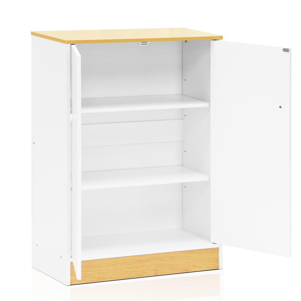Furinno Manya White 2 Door Storage Cabinet Fnaj 11230wh The Home Depot