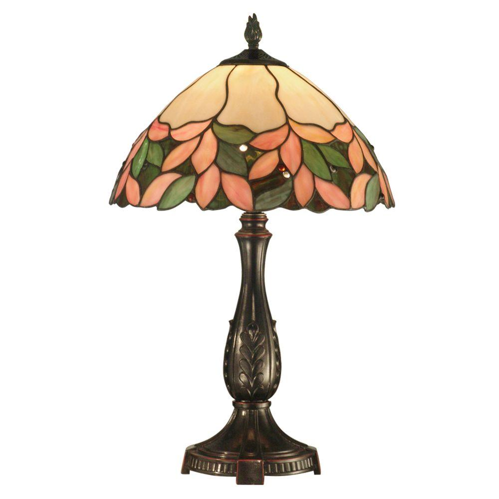 Dale Tiffany Crystal Leaf 23 in. Antique Bronze Table Lamp