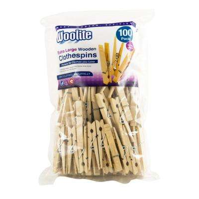 Extra-Large Wooden Clothespins (100-Pack)