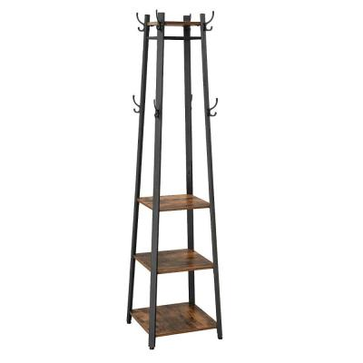 Brown and Black Metal Framed Ladder Style Coat Rack with Three Wooden Shelves
