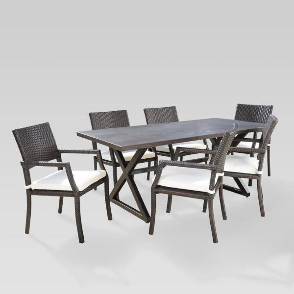 Noble House Alani Brown 7 Piece Aluminum Outdoor Dining Set With White Cushions 22741 The Home Depot