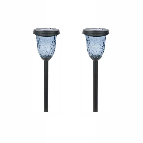 Solar Black Outdoor Integrated LED Landscape Path Light with Smoked Hammered Lens (2-Pack)