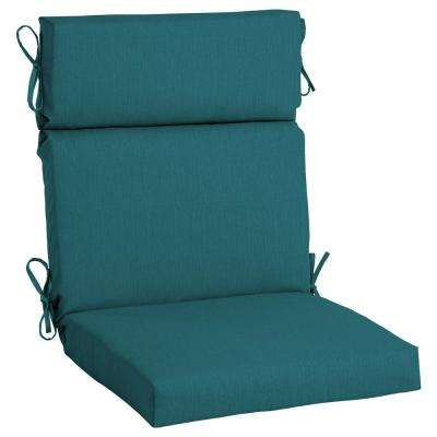 Superb Sunbrella Spectrum Peacock High Back Outdoor Dining Chair Cushion