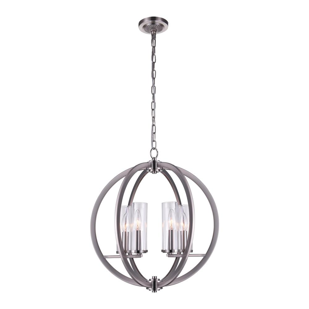 CWI Lighting Elton 6-Light Satin Nickel Chandelier