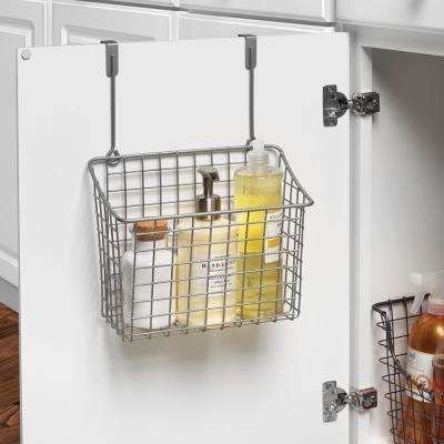 Grid 10.125 in. W x 6.625 in. D x 14 in. H Over the Cabinet Large Basket in Satin Nickel Powder Coat