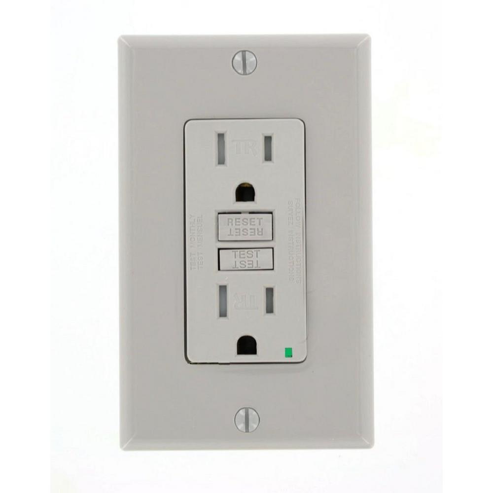 Leviton 15 Amp SmartlockPro Tamper Resistant GFCI Outlet, Gray