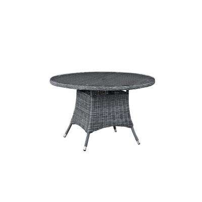 Summon in Gray 47 in. Patio Round Wicker Outdoor Dining Table