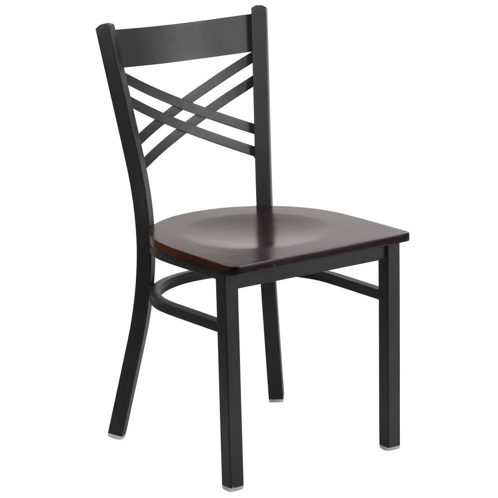 Hercules Series Black X Back Metal Restaurant Chair with Walnut Wood Seat