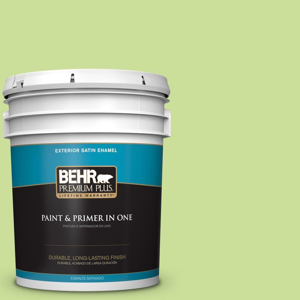 BEHR Premium Plus 5-gal. #420A-3 Key Lime Satin Enamel Exterior Paint