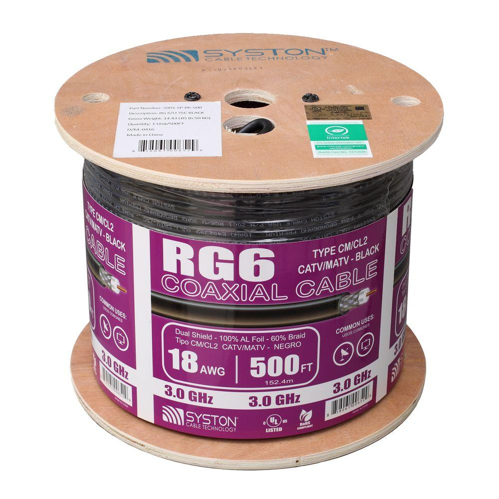 Syston Cable Technology RG6 Dual Shield 500 ft. Black CM Coaxial ...