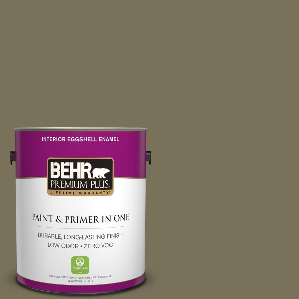 BEHR Premium Plus 1-gal. #380F-7 Crocodile Zero VOC Eggshell Enamel Interior Paint