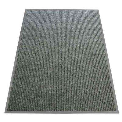 Ribbed Polypropylene Gray 4 ft. x 8 ft. Polypropylene Carpet Mat