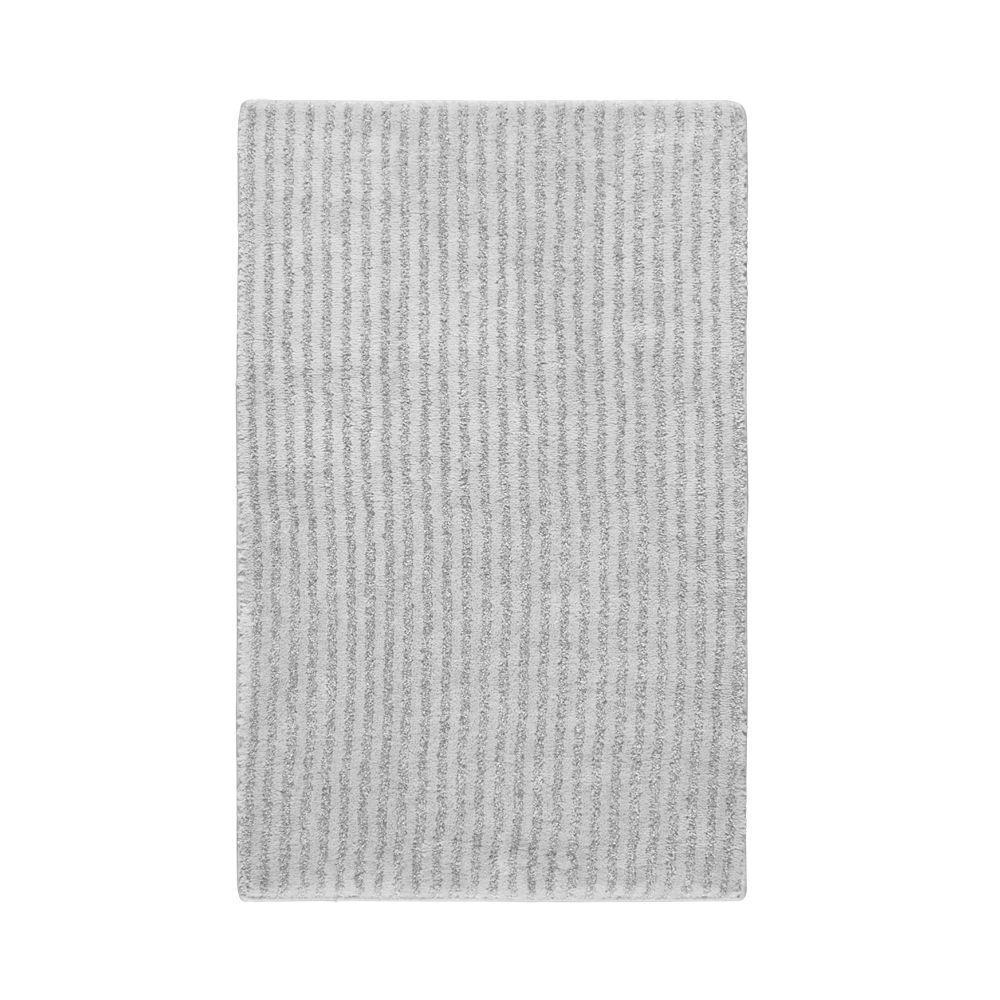 Garland Rug Sheridan Platinum Gray 24 in. x 40 in. Washable Bathroom Accent Rug