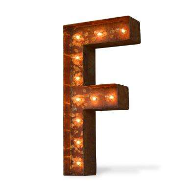 Modern American 24 in. High Rusted Steel Alphabet Letter F Plug-In Marquee Lights