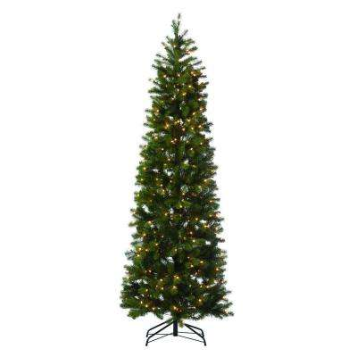 7 ft. Indoor Pre-Lit LED Downswept Douglas Fir Slim Artificial Christmas Tree