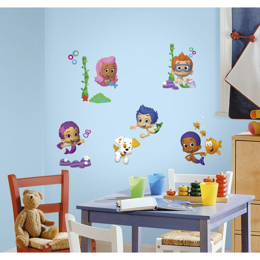 Bubble Guppies L And Stick Wall Decals Rmk2404scs The Home Depot
