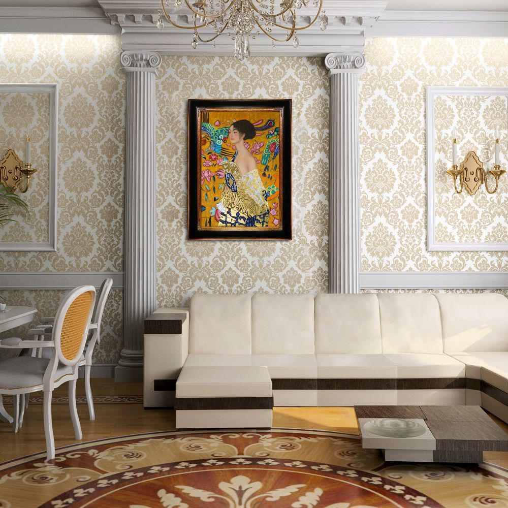 La Pastiche 45 in. x 33 in. Signora con Ventaglio (Luxury Line) with Opulent Frame  by Gustav Klimt Framed Wall Art, Multi-Colored was $1366.0 now $666.06 (51.0% off)