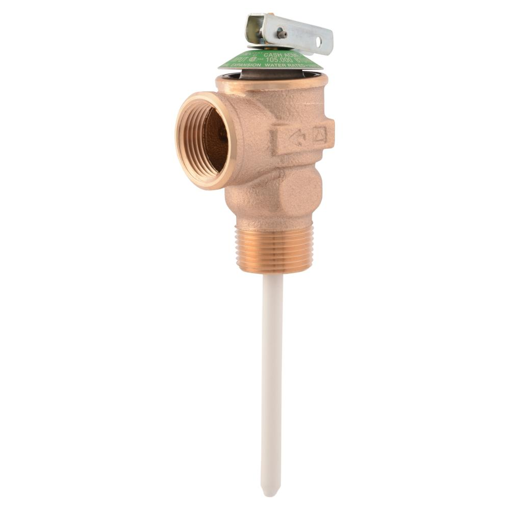 Cash Acme 3/4 in. Bronze NCLX Temperature and Pressure Relief Valve with 1-1/4 in. Shank MNPT Inlet x FNPT Outlet