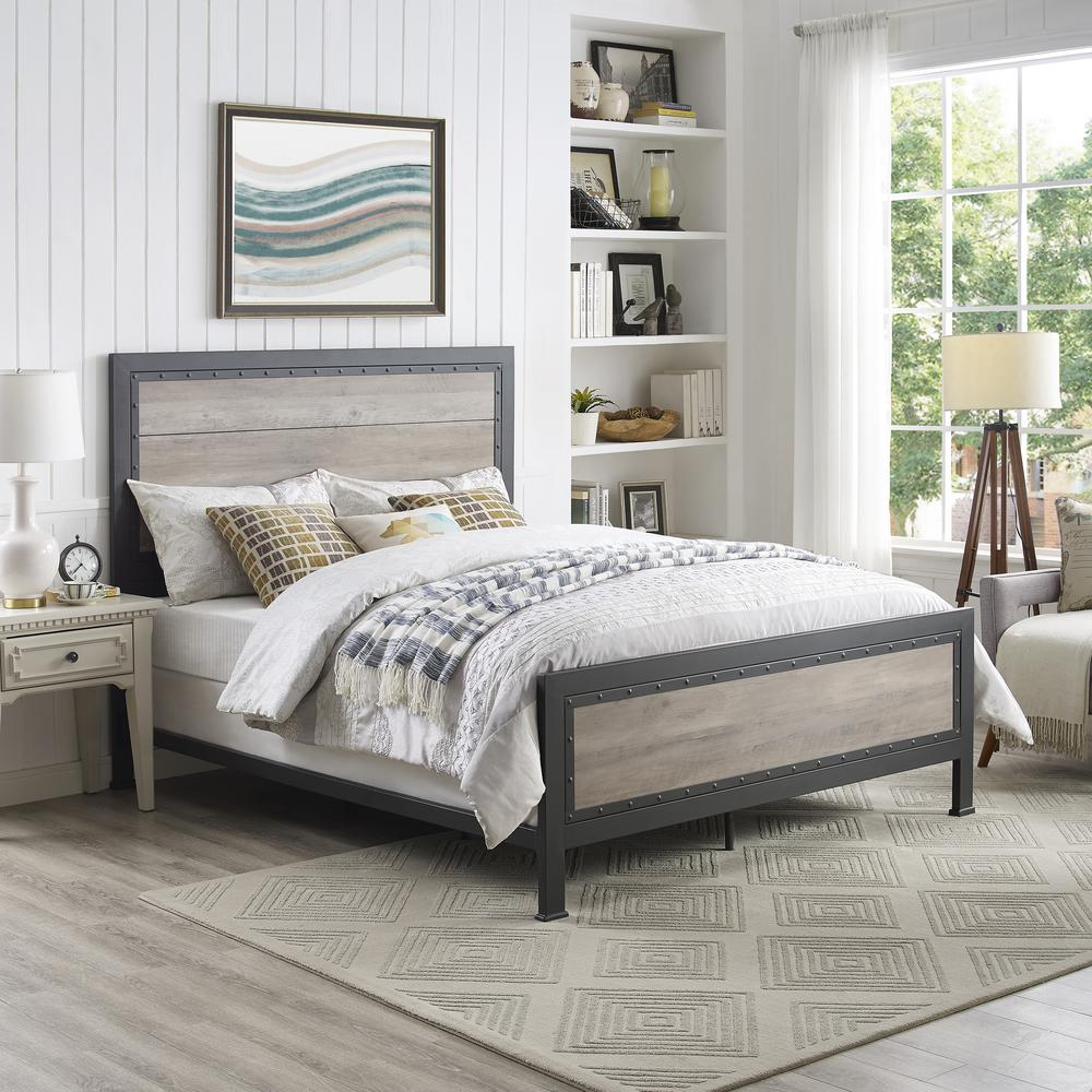 Walker Edison Furniture Company Queen Size Grey Wash Industrial Wood And Metal Bed Hdqawgw The