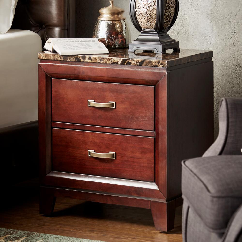 homesullivan 2 drawer cherry nightstand 402112 4 the home depot. Black Bedroom Furniture Sets. Home Design Ideas
